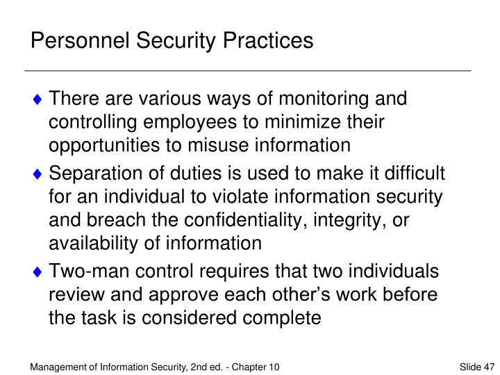 Personnel Security Practices