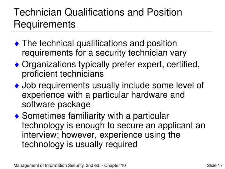 Technician Qualifications and Position Requirements