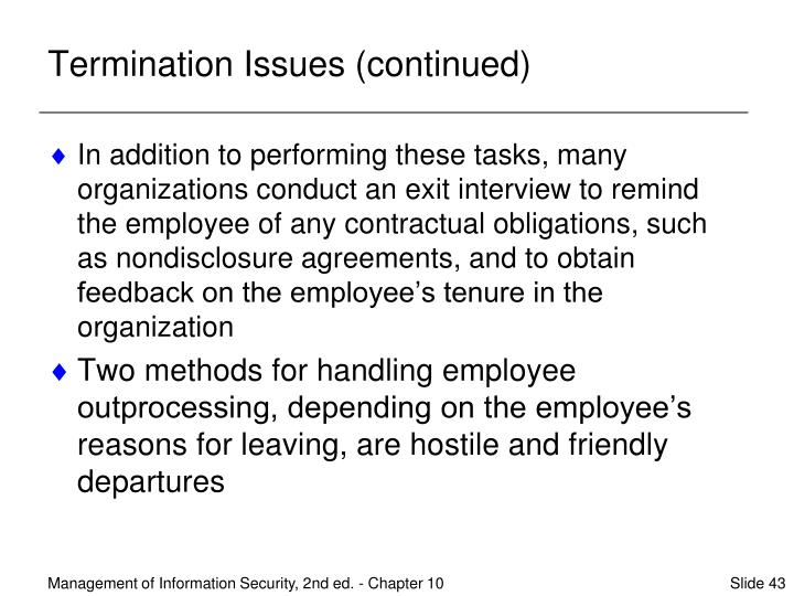 Termination Issues (continued)