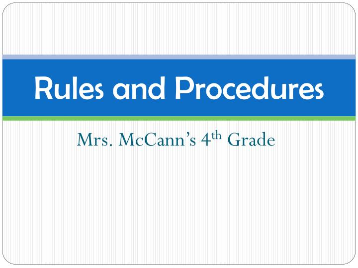rules and procedures n.