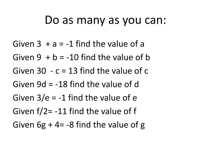 Do as many as you can