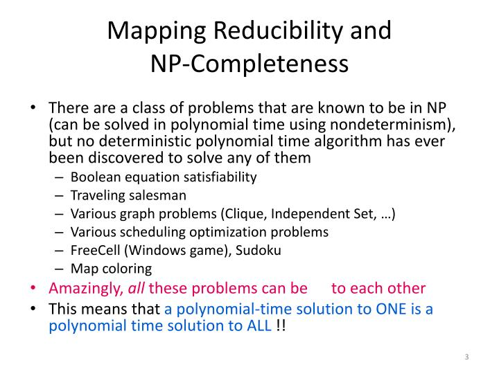 Mapping reducibility and np completeness