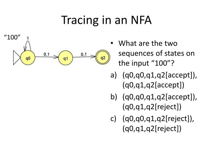 Tracing in an NFA