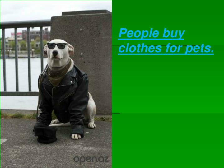 People buy clothes for pets.