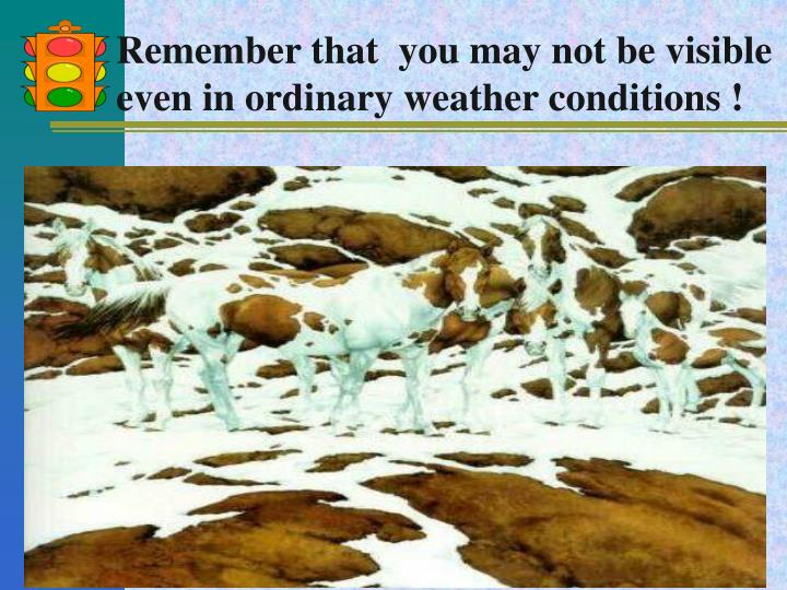 Remember that  you may not be visible even in ordinary weather conditions !