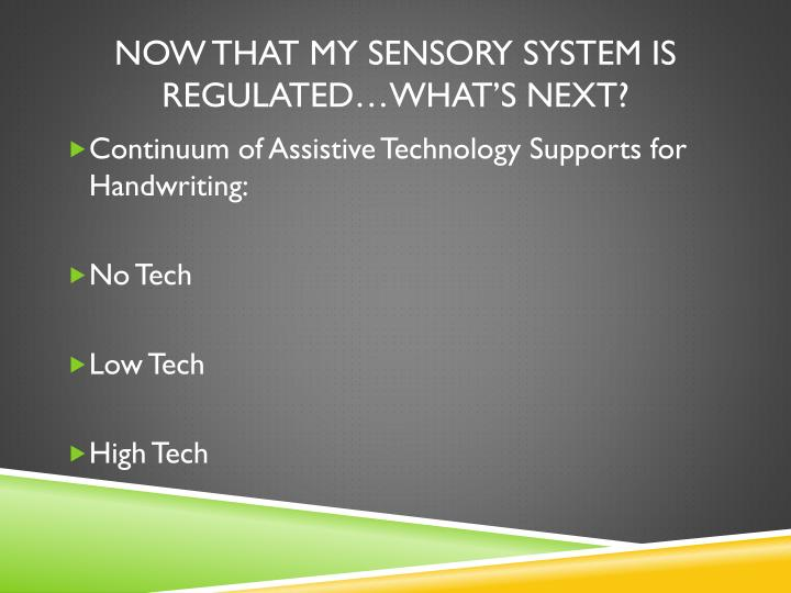 Now That My Sensory System is Regulated…what's Next?