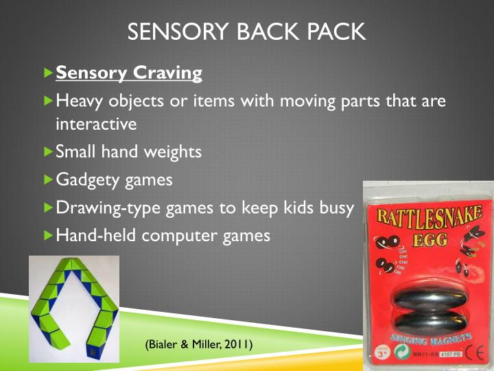 Sensory Back Pack