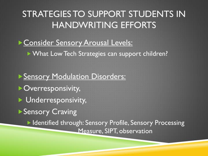 Strategies to support Students in Handwriting Efforts
