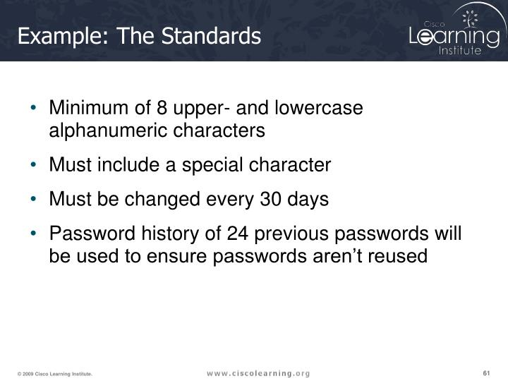 Example: The Standards