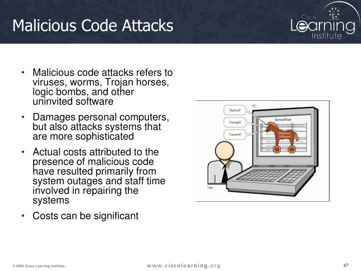Malicious code attacks refers to viruses, worms, Trojan horses, logic bombs, and other uninvited software
