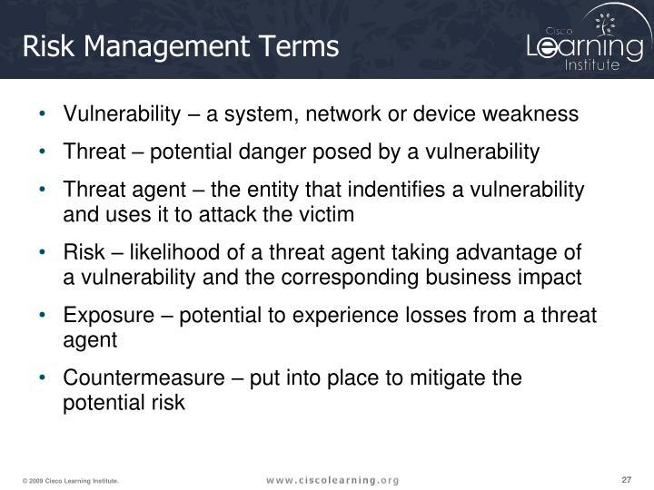 Risk Management Terms