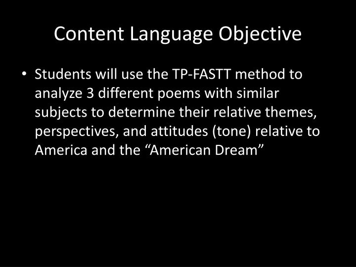 Content Language Objective