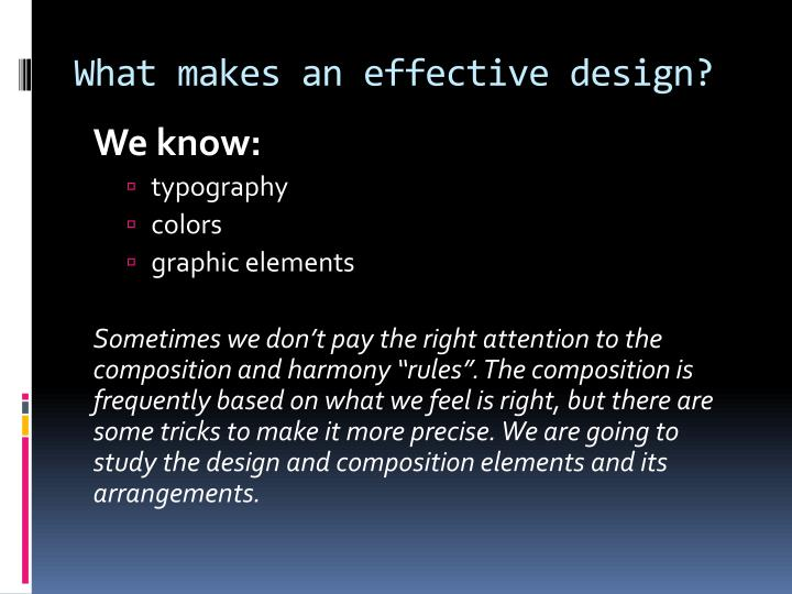 What makes an effective design