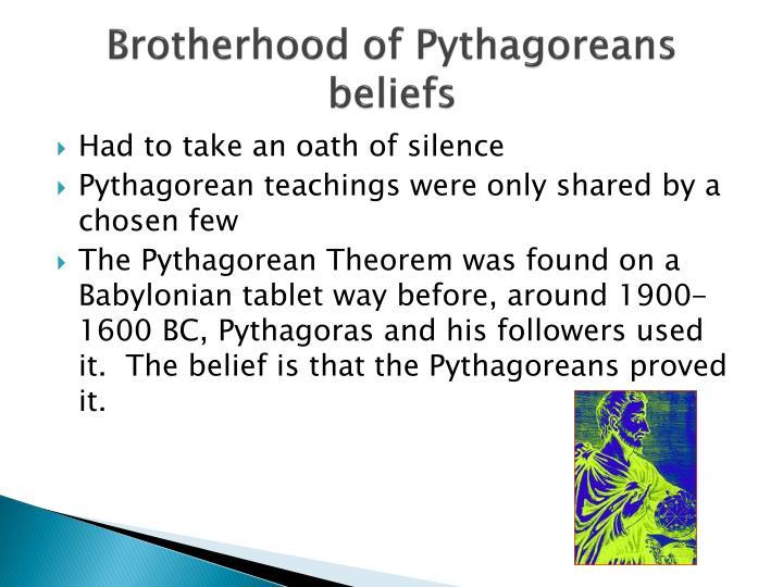 Brotherhood of Pythagoreans beliefs