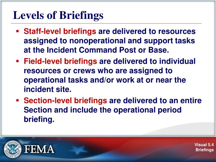 Levels of Briefings
