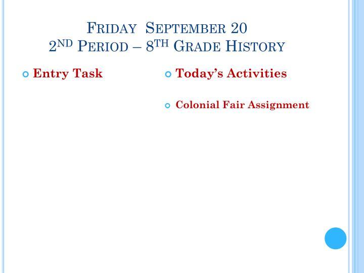 Friday  September 20