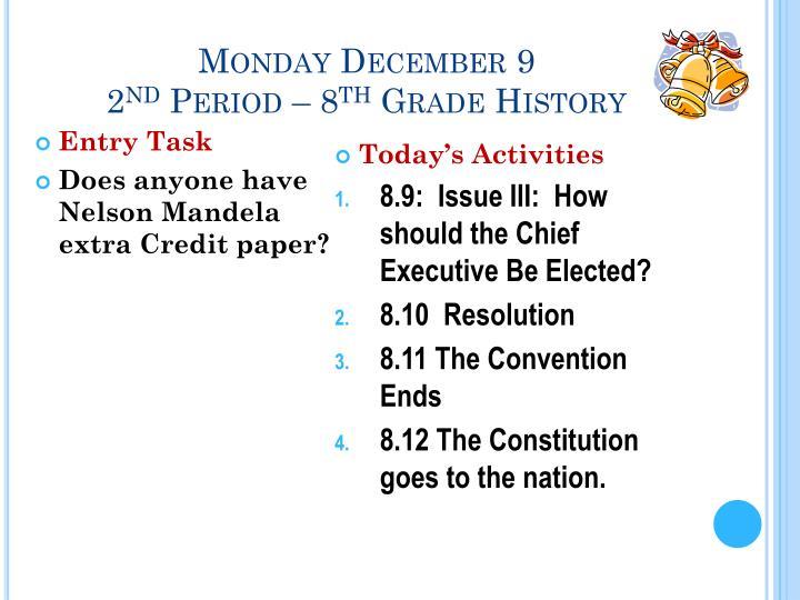 Monday December 9