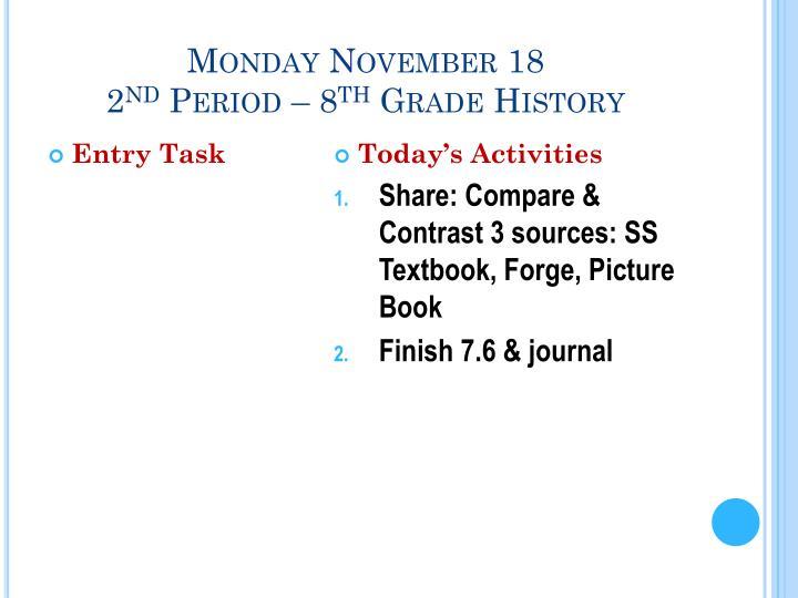 Monday November 18