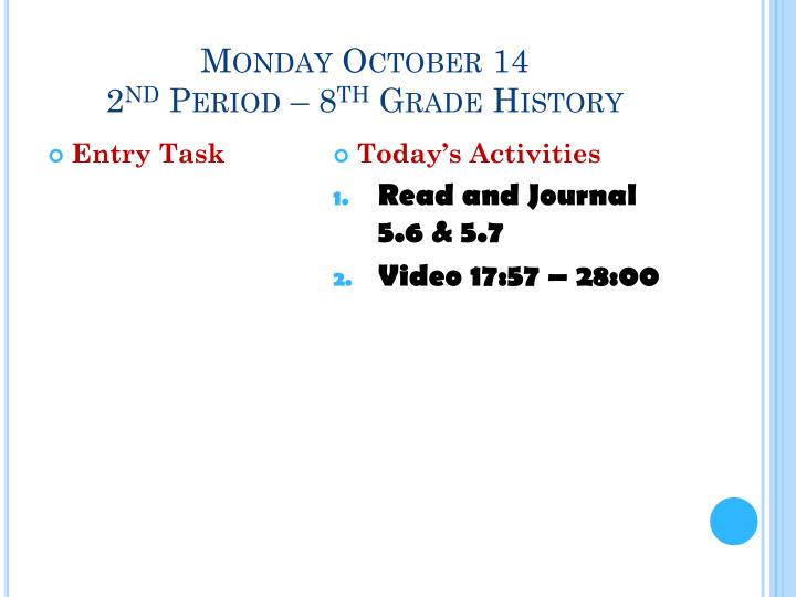 Monday October 14