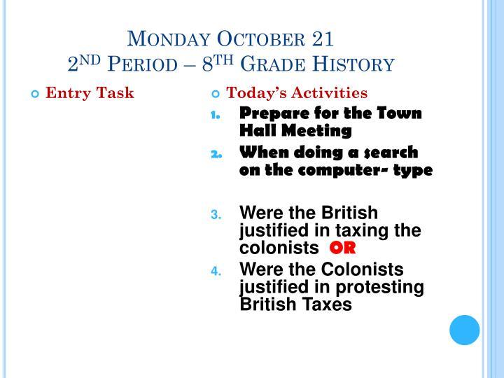 Monday October 21