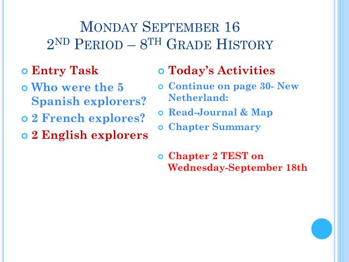 Monday September 16