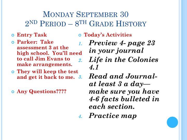 Monday September 30