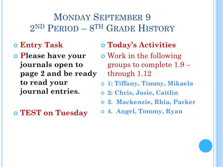 Monday September 9