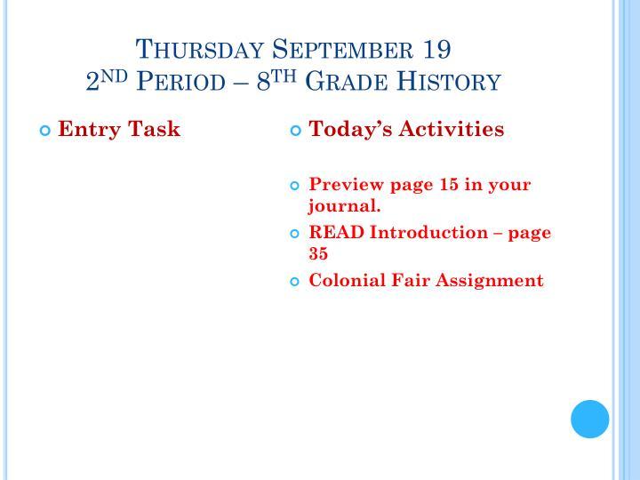 Thursday September 19