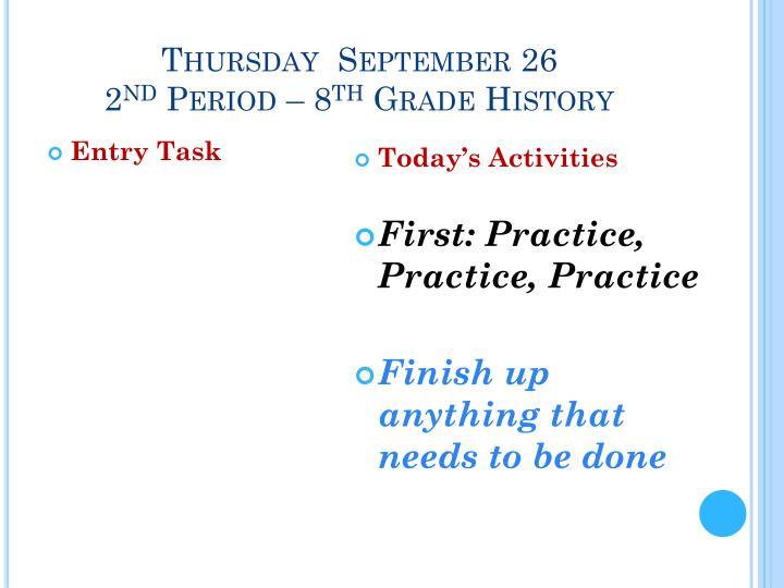 Thursday  September 26