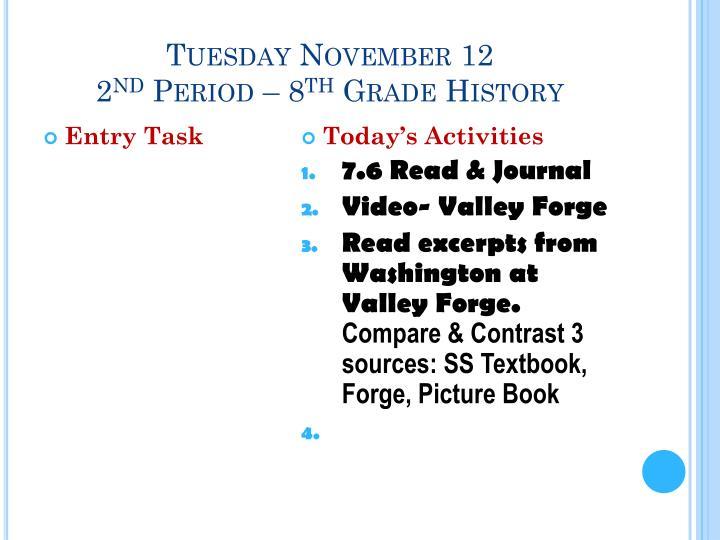 Tuesday November 12