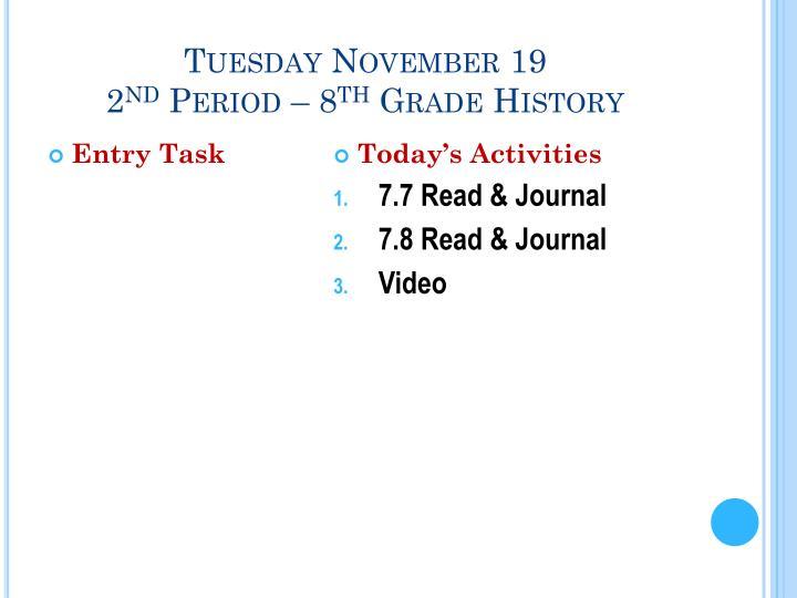 Tuesday November 19