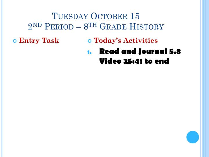 Tuesday October 15