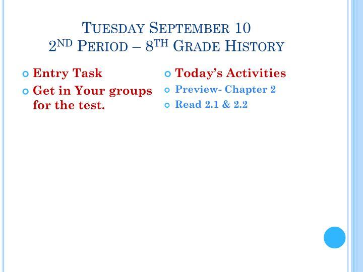 Tuesday September 10