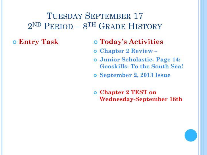 Tuesday September 17