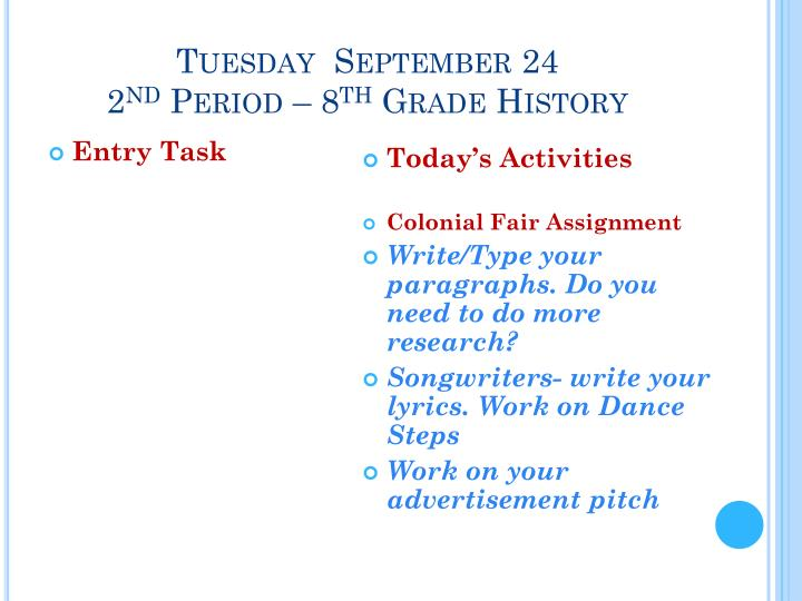 Tuesday  September 24