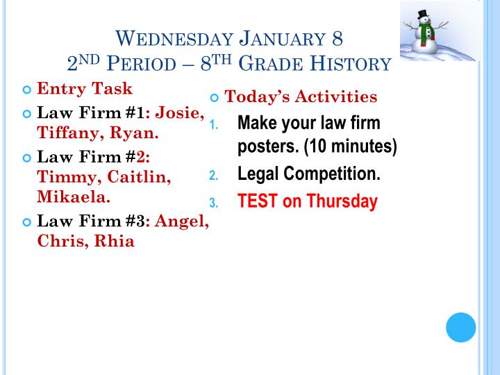 Wednesday January 8