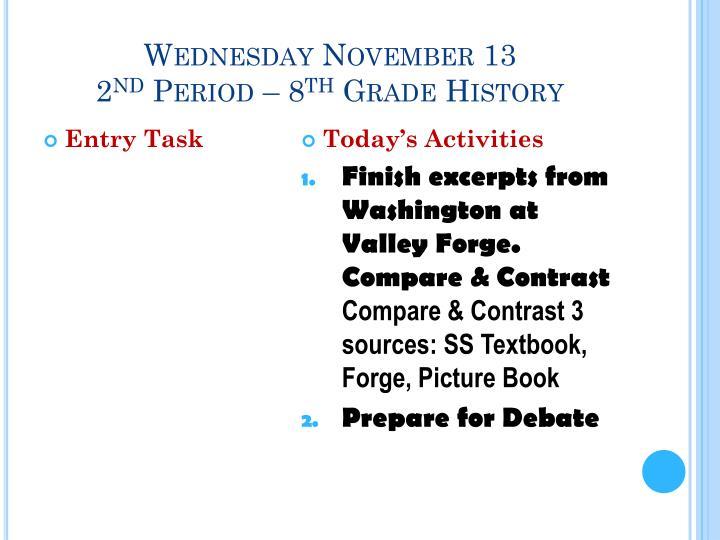 Wednesday November 13