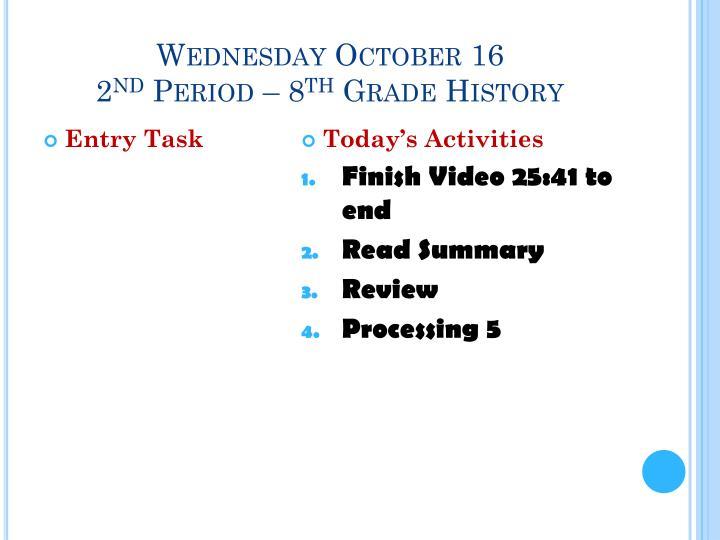 Wednesday October 16