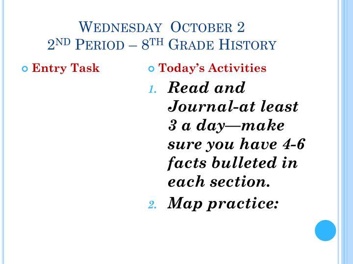 Wednesday  October 2