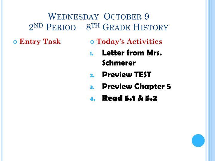 Wednesday  October