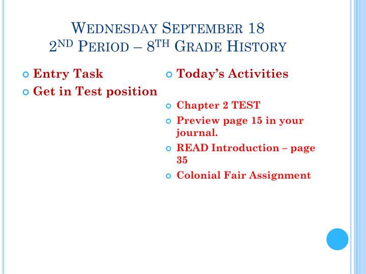 Wednesday September 18