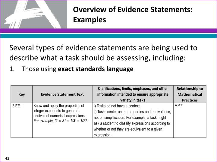 Overview of Evidence Statements: Examples