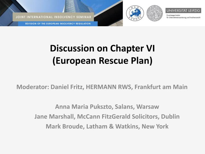 Discussion on chapter vi european rescue plan