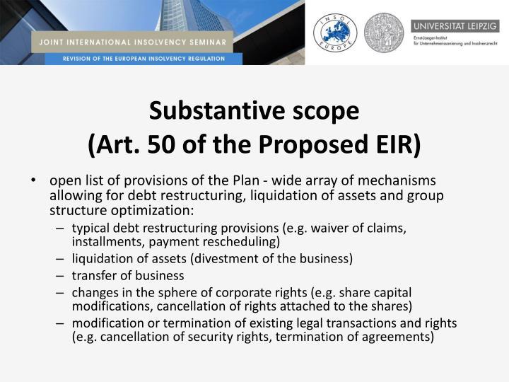 Substantive scope