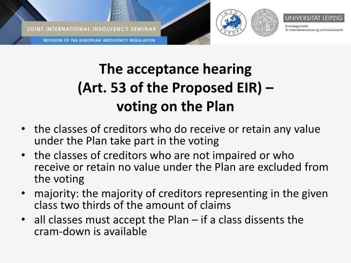 The acceptance hearing