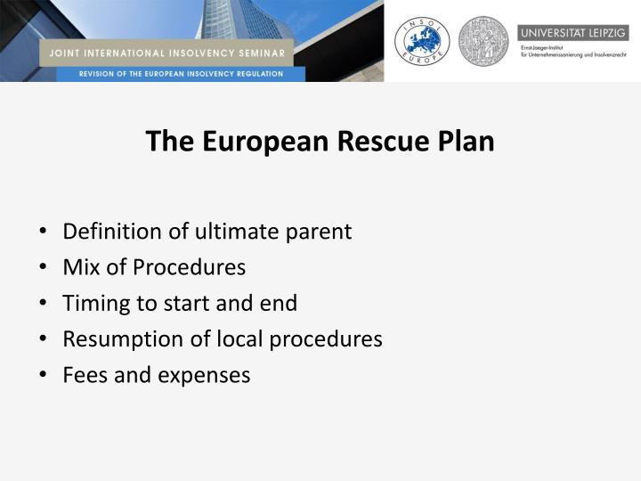 The European Rescue Plan