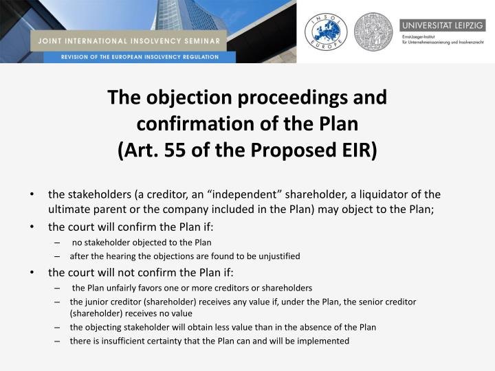 The objection proceedings and