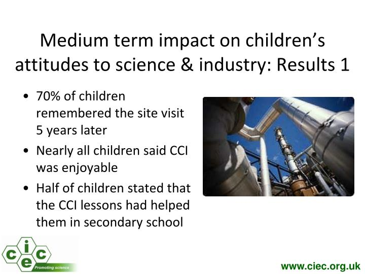 Medium term impact on children's