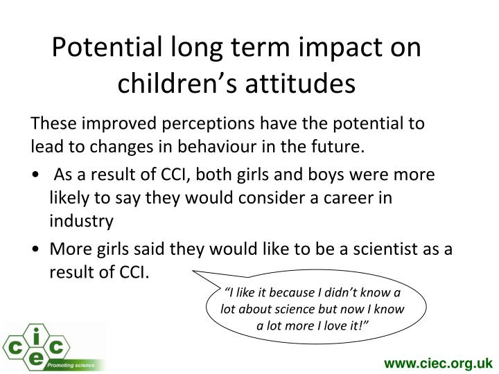 Potential long term impact on children's attitudes