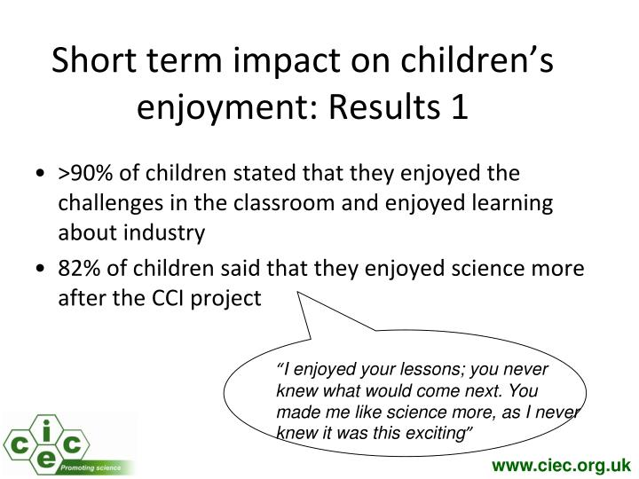 Short term impact on children's enjoyment: Results 1